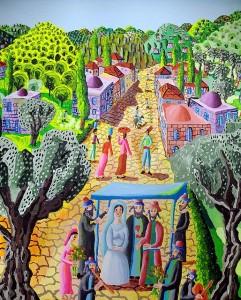 """רפי פרץ, מתוך ציורו """"מחווה לצייר משה קסטל חתונה יהודית"""" CC BY"""